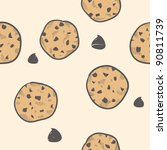 Doodle style seamless cookie treats tiled vector background - stock vector