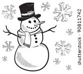 Doodle style holiday snowman illustration in vector format - stock vector
