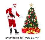 happy traditional santa claus... | Shutterstock . vector #90812744