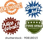 awesome work award stamps | Shutterstock .eps vector #90818015