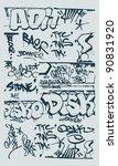 vector set grunge graffiti... | Shutterstock .eps vector #90831920