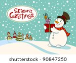 Snowman With Gifts  Vector...