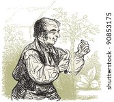 the gardener   vintage engraved ...   Shutterstock .eps vector #90853175