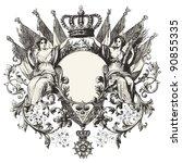 Heraldry   Vintage Engraved...