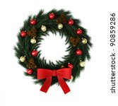 christmas wreath isolated on... | Shutterstock . vector #90859286