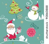 vector christmas seamless... | Shutterstock .eps vector #90860888