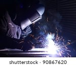 welding and bright sparks. hard ... | Shutterstock . vector #90867620