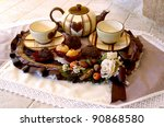 english  tea setting with pastry