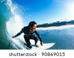 surfer on blue ocean wave | Shutterstock . vector #90869015
