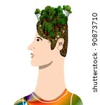 man with trees in head - stock photo