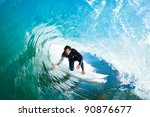 surfer in the barrel on amazing ... | Shutterstock . vector #90876677