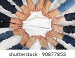 feet of girls form a circle | Shutterstock . vector #90877853