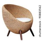 Round wicker chairs on white background - stock photo