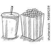 Doodle style movie concessions in vector format including popcorn and soda - stock vector