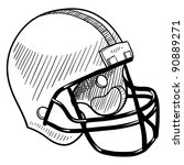 Doodle style football helmet sports equipment in vector format - stock vector