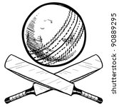 Doodle style cricket sports equipment in vector format including ball and bat - stock vector