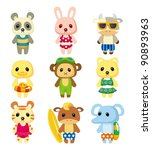 cartoon summer animal | Shutterstock .eps vector #90893963