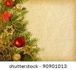 christmas border. old paper | Shutterstock . vector #90901013