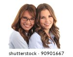mother and daughter smiling... | Shutterstock . vector #90901667