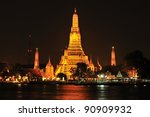 prang of wat arun  bangkok ... | Shutterstock . vector #90909932