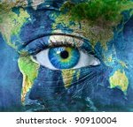 planet earth and blue human eye ... | Shutterstock . vector #90910004