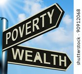 poverty or wealth directions on ... | Shutterstock . vector #90912068