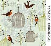 winter birds  birdcages ... | Shutterstock .eps vector #90914738