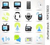 set of communication icons set   Shutterstock .eps vector #90915833
