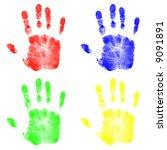 four colorful child handprints   Shutterstock . vector #9091891