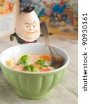 Fresh, organic  vegetables soup for baby. Shot for a story on homemade, organic, healthy baby foods. - stock photo