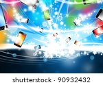 Many Colorful Smart Phones are flying In Blue Xmas Background - stock photo