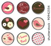 love birds 3d button set | Shutterstock . vector #90942554