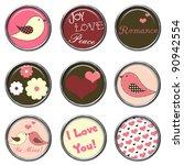 love birds 3d button set | Shutterstock . vector #90942554