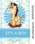 baby boy shower card with cute... | Shutterstock .eps vector #90945545
