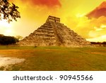 kukulkan pyramid in chichen... | Shutterstock . vector #90945566