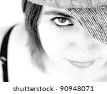 eye of young woman with hat... | Shutterstock . vector #90948071