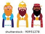 three wise men bringing gifts... | Shutterstock .eps vector #90951278