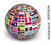 Globe With World Flags Isolated ...