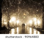 couple walking at alley in... | Shutterstock . vector #90964883