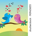 birds in love. vector... | Shutterstock .eps vector #90965855