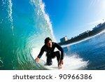 surfer on amazing blue ocean... | Shutterstock . vector #90966386