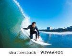 surfer on amazing blue ocean... | Shutterstock . vector #90966401
