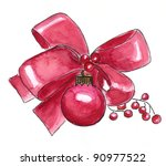 Watercolor red Christmas decoration - stock photo