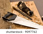 set of carpenters tool on tne... | Shutterstock . vector #9097762
