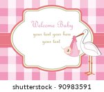 baby girl arrival announcement | Shutterstock . vector #90983591