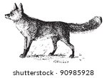 fox  vintage engraved... | Shutterstock .eps vector #90985928
