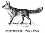 fox  vintage engraved... | Shutterstock .eps vector #90985928