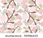 seamless pink blossom and... | Shutterstock .eps vector #90986423