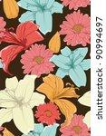 hand drawn floral wallpaper... | Shutterstock .eps vector #90994697