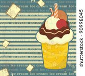 ice cream on striped background ... | Shutterstock . vector #90998045